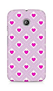 Amez designer printed 3d premium high quality back case cover for Motorola Moto E (Romantic Pink Color Hearts3)
