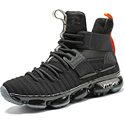 Zapatillas Unisex Niños Zapatos de Baloncesto Casual Zapatos Correr Sneakers para Hombre, 8 Negro, 32 EU