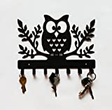 #10: Owl Metal Key Holder (Black) with 7 Hooks & 5 Years Warranty, Steel Key Rack, Metal Key Cabinet, Owl Key hanger, Medal Hanger, Leash Hanger
