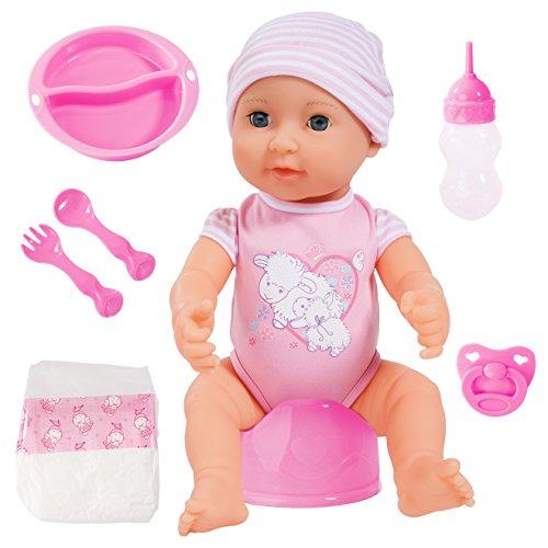 Bayer Design - Muñeca bebé recién nacido que hace pipí, Piccolina First Newborn Baby, 40 cm, color rosa (94071AE)