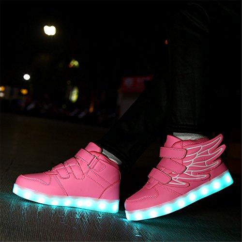 KuBua Chaussures Enfant LED Lumineuses Adulte 7 Couleur USB Charge Montantes Chaussure Lumineuse Lumineux Lumière Light Clignotant Sports Baskets Garçon Fille 25-37 Rose