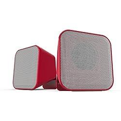 Speedlink Aktive Stereo-Lautsprecher - SNAPPY Stereo Speaker USB (6W RMS für kraftvolle Bassfrequenzen - Praktische Tischfernbedienung für bequeme Lautstärkeregelung - 1,25 m Kabellänge) für Computer / Laptop rot-weiß