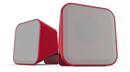Speedlink SNAPPY Stereo Speaker USB - Stereo-Lautsprecher (6W RMS für kraftvolle Bassfrequenzen - Praktische Tischfernbedienung - 1,25 m Kabellänge) für Computer / Laptop rot-weiß