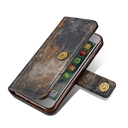 iPhone 8 Plus Case, Fraelc Ultraslim Schutzhülle Retro Permium Leder Flip Wallet Bookstyle Handyhülle mit Magnetverschluss, Stand Funktion und Kreditkarte Slots für Apple iPhone 7 Plus / iPhone 8 Plus Schwarz