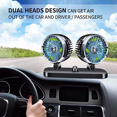 Auto Ventilator,Tragbarer Universal 12 & 24V Dual Head Autokühlung Oszillierende Armaturenbrett Belüftung Luftventilator Lüfter Tischventilator Schreibtischventilator Einstellbarer Windkopf (A)