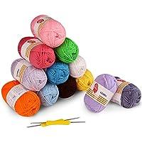 12 Colores Bolas de Hilos Acrílicos, Incluye 2 Ganchos de Ganchillo - 100% Hilos de Estambre de Estambre, Acrílico Suave, Madejas para Niños, Crochet y Mini Proyecto de Artesanías, - Kit de Inicio para Arte Colorido (50G X 12)