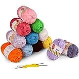 12 Colores Bolas de Hilos Acrílicos, Incluye 2 Ganchos de Ganchillo - 100% Hilos de Estambre de Estambre, Acrílico Suave, Madejas para Niños, Crochet y Mini Proyecto de Artesanías