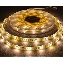 5 m 2835 RGB 300 LED Lámpara resistente al agua IP65 SMD Tira LED con fuente de alimentación para iluminación para casa y cocina decorativa (Warme Weiße)