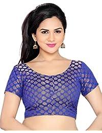 Studio Shringaar Wedding Blue Solid Short Sleeve Non-Padded Blouse