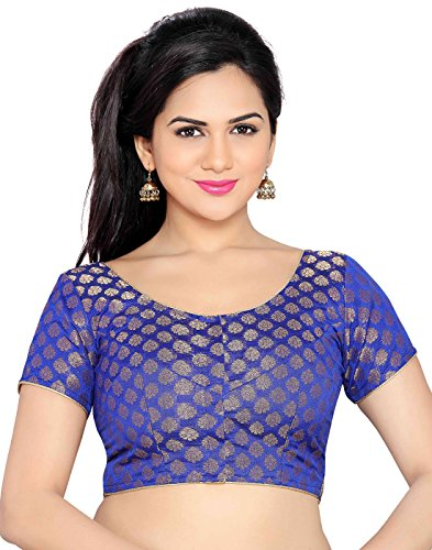 Studio Shringaar Royal Blue Brocade Butti Stitched Blouse