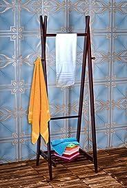 YATAI Freestanding Folding Towel Stand with Bottom Shelf – Bathroom Storage Rack – Leaning Drying Rack – Folda