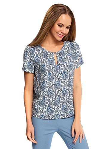 oodji Ultra Mujer Blusa Ancha con Escote Gota, Azul, ES 44/XL