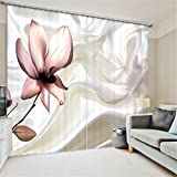 KKLL Gardinen Polyester Blumen 3D Stereo Vision Digitaldruck Stoffe Blackout Insulated Lärmminderungsmassiv Thermal Schlafzimmer Schiebegardine Home Decor Fenster Vorhänge , 4 , wide 150x high 166 (wide 75x2)