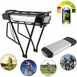 Dpower Batterie Lithium-ION 36 V 13 Ah 481 W 2 Pôles pour Vélo électrique, Pedelec, Vélo électrique + Porte-Bagages + Chargeur par Exemple MIFA, Rex, ALDI, PROPHETE