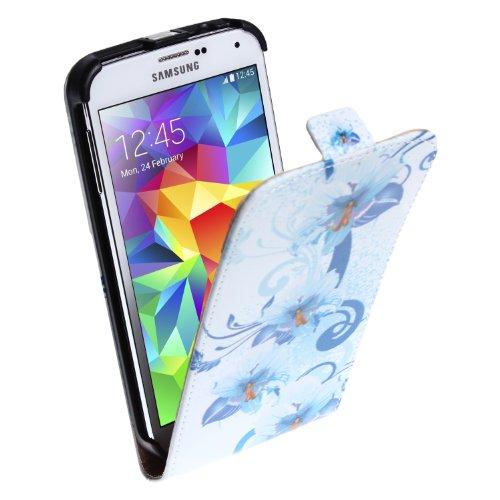 wortek Flip Case Horizontal Samsung Galaxy S5 G900 Tasche Blumen Weiß Blau 5 Blumen Weiß Blau