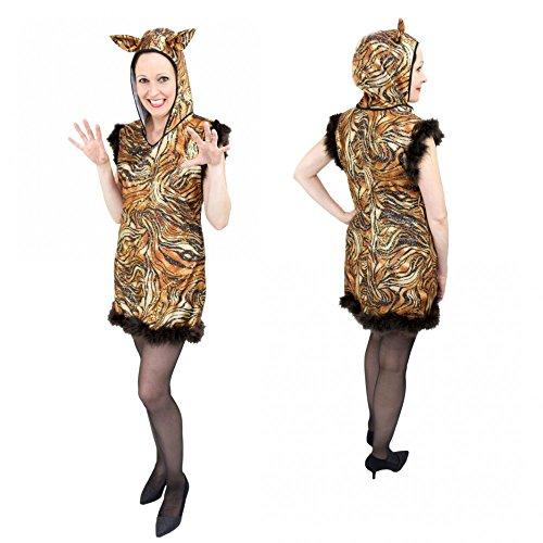 Kostüm Glitzer Tiger Gr. S- L Kleid Tierkostüm Afrika Zoo Fasching Karneval (M) (Kleid Tiger)