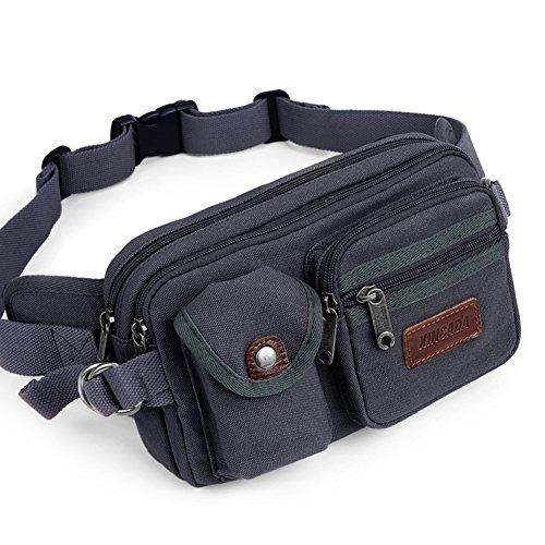 Outdoor peak Canvas Herren Damen Hüfttasche Gürteltasche Bauchtasche Brusttasche Sport Handy Schlüssel Geldbörse(khaki) schwarz