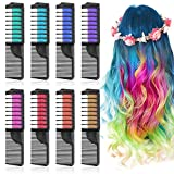 Lictin Hair Chalk Dye Combs - Hair Chalk for Kids 8pcs Temporary Hair Colour Chalk Comb Chalk Hair Dye for Girls Halloween DIY