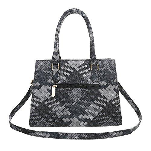 iTal-dEsiGn Damentasche Mittelgroße Schultertasche Handtasche Kunstleder TA-M978 Schwarz Grau