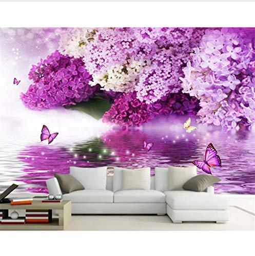 VVNASD 3D Aufkleber Wandbilder Wand Tapete Dekorationen Purpurroter Blumen Reflexions Schmetterlings Hintergrundhauptdekor Kunst Kinder Tv (W) 300X(H) 210Cm -