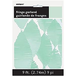 Unique Party- Guirnalda de flecos de papel de seda, Color verde menta, 274 cm (63642)