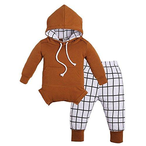 Neugeborene Baby Mädchen Jungen Outfits Kleidung Kapuzen Strampler Jumpsuit + Plaid Pants Set, 70 cm (Cute Halloween Make Up Ideen)