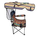 LELI Outdoor Falten Stuhl,Angeln Stuhl,mit Sonnenschirm Rückenlehne Hohe Tragfähigkeit Für Camping Wandern Beach-B 55x47x124cm(22x19x49inch)