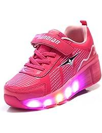 Unisex Niños Niñas Zapatos de Roller Breathable LED Luminosas Flash Patines Deportes Al Aire Libre Gimnasia Zapatillas de Skateboard con…