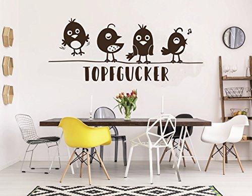tjapalo® pkm85 Wandtattoo Küche Topfgucker Vögel Wandtattoo kochen Töpfe Esszimmer Tisch (B100 x H34 cm (auch größer im Angebot)) - Dekorieren Esszimmer Tisch