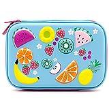 Federmappe, für Früchte, mit Tasche, für Kinder, groß, mit Fächern, für Mädchen, Beutel für Schreibwaren, Organizer hellblau