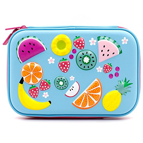 Colorful fruits goffrato hardtop pencil case – kids large colored portapenne contenitore con scomparti – girls cosmetici sacchetto di cancelleria organizer light blue
