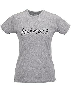 LaMAGLIERIA Camiseta Mujer Slim Paramore Black Print - T-Shirt Punk Rock 100% Algodòn Ring Spun