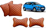 #4: Autopearl - Premium Quality Tan Color Diamond Neck Rest with Cushion Set of 4 Pcs. For - Hyundai I20 Elite 2018