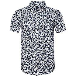 SOOPO Camisa para Hombre con Estampado de Piña Aloha Hawaiian Shirts, Camiseta Azul y Cómoda para Verano, L