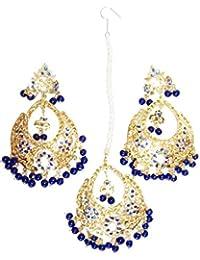 Ethnic India Blue Golden Alloy Earring Tikka Set For Women (N1)