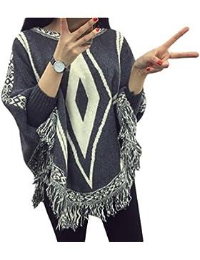 ZKOO Suéter O Jersey De Punto Estilo Ponchos Suéter De Punto Ponchos Capas Tassel Suaves Suéter Otoño Invierno...
