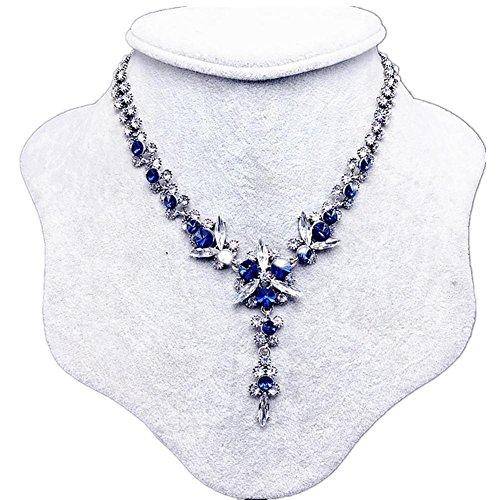 maglione gioielli delle donne clavicola collana catena pendente di cristallo fiore del metallo , blue