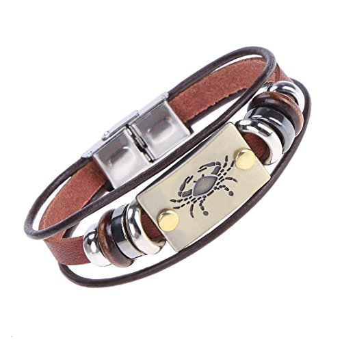 Domybest Mode 12 Constellation Zeichen Armband Armreif Unisex Perlen Leder Schmuck (Krebs Zeichen Schmuck)