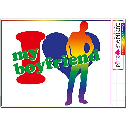 pinkelephant Aufkleber - Rainbow Collection 09 - My boyfriend - Freund - geil - 21 cm x 20 cm - Laptop Sticker Regenbogen