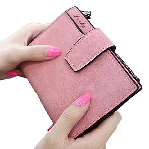 Internet Portefeuille femmes Grind Mini pliantes magique en cuir sac à main carte titulaire 12.8*10.5cm (Rose)