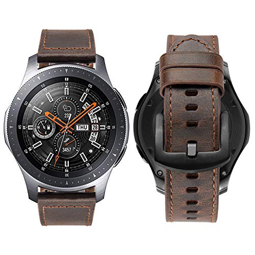 iBazal 22mm Armband Leder Uhrenarmband Armbänder Ersatz für Galaxy Watch 46mm,Gear S3 Frontier/S3 Classic SM-R760/770,Huawei GT/Honor Magic/2 Classic,Ticwatch Pro,Moto 360 2nd Gen - Schokoladen-Kaffee