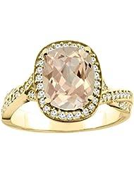 14ct blanco/oro amarillo Natural del anillo Halo colgantes 9 x 7 mm acento de diamante cojín 1,27 cm de ancho, de tallas J - T
