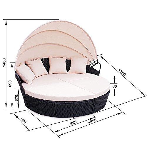 POLY RATTAN Sunbed Lounge Gartenset Schwarz Sofa Garnitur Polyrattan Gartenmöbel Neu - 4