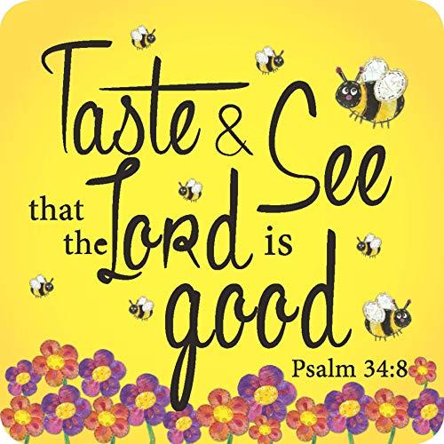 Just Cards Direct C150p Christlicher Untersetzer mit Psalm 34:8 Bibelvers, Schriftzug Taste and See (8 Psalm 34)