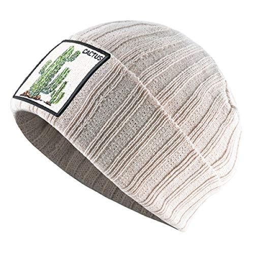 Unexceptionable-Beanie Hat Winter-Strickmütze Frauen oft Stricken einfarbige Mütze mit Kaktus-Flecken Stricken Doppelschicht-warme Skullies-Mützen Men @ Beige -