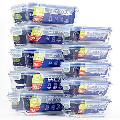Lot de 10 récipients en verre avec couvercles hermétiques pour le stockage des aliments - récipients de repas en verre - récipients de préparation de repas pour cuisine, usage domestique