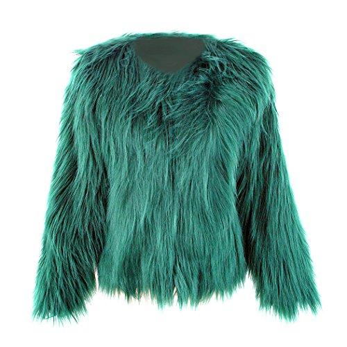 mioim Damen Jacke Faux Pelz Langarm Winter Warm Kunstfur Jacket Kurz Mantel Felljacke Tops (Damen Pelz Jacke)