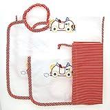 Coccole- set asilo 'macchina rossa' - 4 pezzi: 2 bavaglini, 1 asciugamano e 1 sacca -rosso - 3 mesi - 5 anni