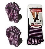 2 Paar rutschfeste Yoga-Zehensocken in verschiedenen Farben von YogaAddict, Black (Pink Grippy Lines) - 2 Pairs