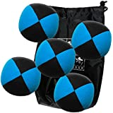Lote 5 bolas de malabares malabares Flash Pro azul / negro (4 caras) en la bolsa de terciopelo completa
